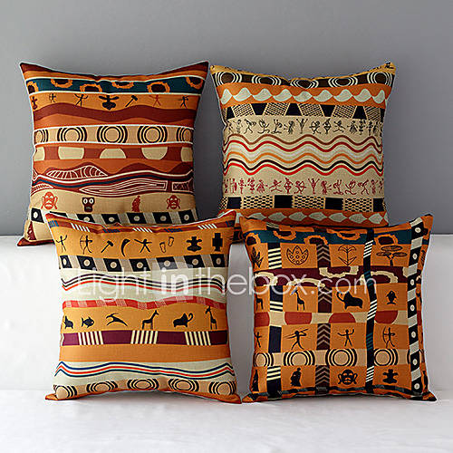 set of 4 africa style patterned cotton linen decorative pillow covers 3852354 2016. Black Bedroom Furniture Sets. Home Design Ideas