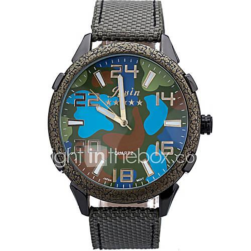 lona esporte relógio forma redonda de discagem padrão de camuflagem mapa dos homens tecer vindima watch