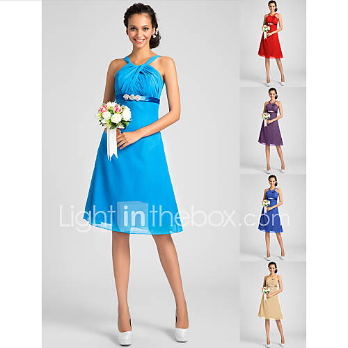 Knee length chiffon bridesmaid dress ocean blue royal for Ocean blue wedding dress