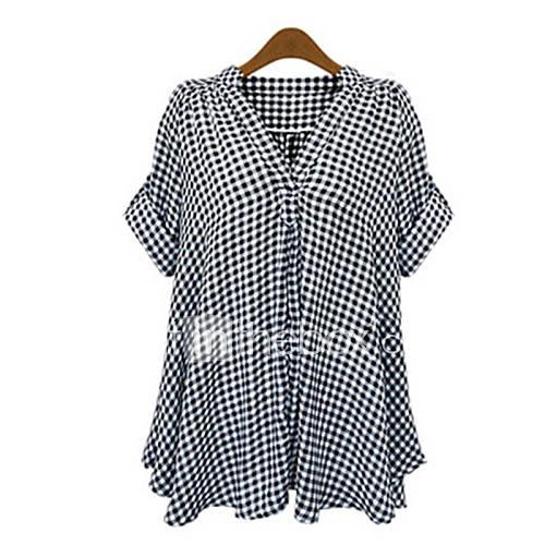 De las mujeres Cuadrícula Camisa-Escote en V Profunda-Poliéster-Manga Corta Descuento en Lightinthebox