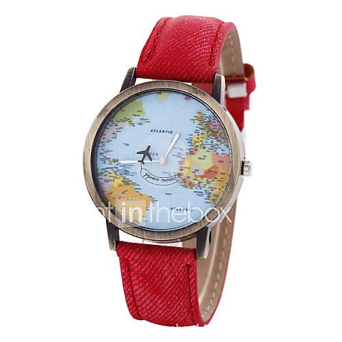 Mujer Reloj de Moda Cuarzo Mapa del Mundo Patrón PU Banda Cosecha Negro / Blanco / Azul / Rojo / Marrón / Caqui Marca- Descuento en Lightinthebox