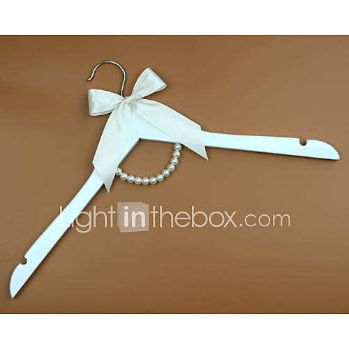 White Wedding Dress Hanger: White Wood Wedding Dress Hanger With Ivory Bow And Pearls