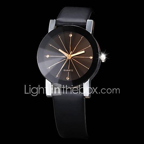Hombre / Mujer / Pareja Reloj de Vestir / Reloj de Moda / Reloj de Pulsera Cuarzo Brillante / La imitación de diamante PU Banda Negro Descuento en Lightinthebox