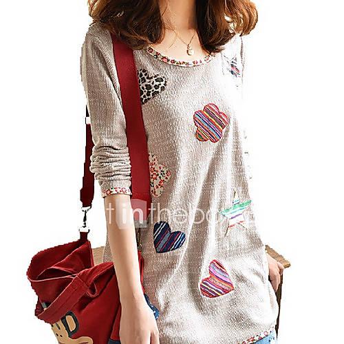 dames-eenvoudig-zomer-t-shirt-casual-dagelijks-grote-maten-patchwork-ronde-hals-lange-mouw-bruin-polyester-medium