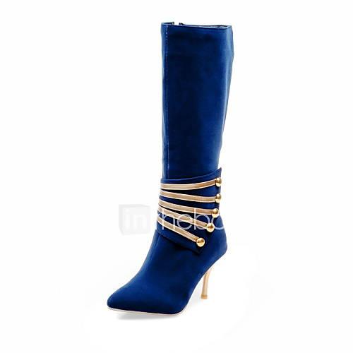 Mujer-Tacón Stiletto-Tacones / Botas a la Moda-Botas-Exterior / Oficina y Trabajo / Casual-Semicuero-Negro / Azul / Rojo Descuento en Lightinthebox