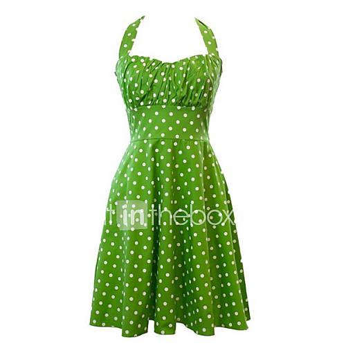 halter-katoen-polyester-geplooid-tot-de-knie-vrouwen-jurk-mouwloos