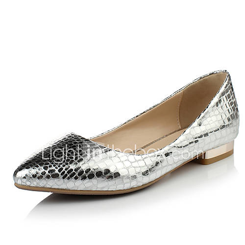 Silver Pointy Flat Shoes
