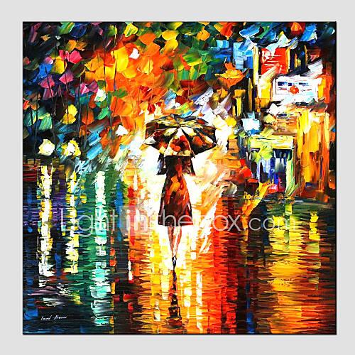 Oil Paintings Modern Landscape Rainy Street Canvas