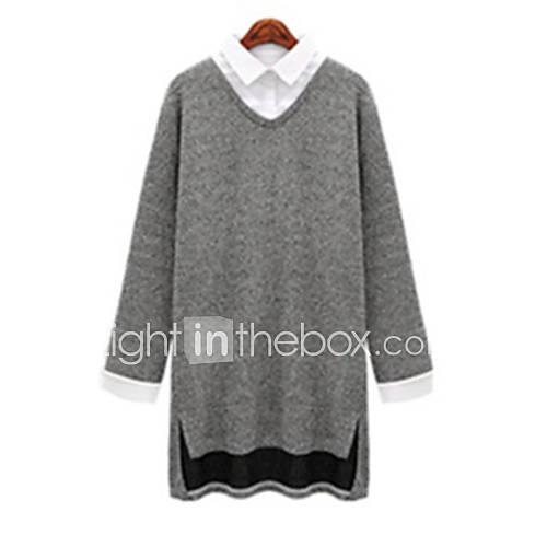 vrouwen-eenvoudig-herfst-t-shirt-casual-dagelijks-patchwork-ronde-hals-lange-mouw-grijs-polyester-medium