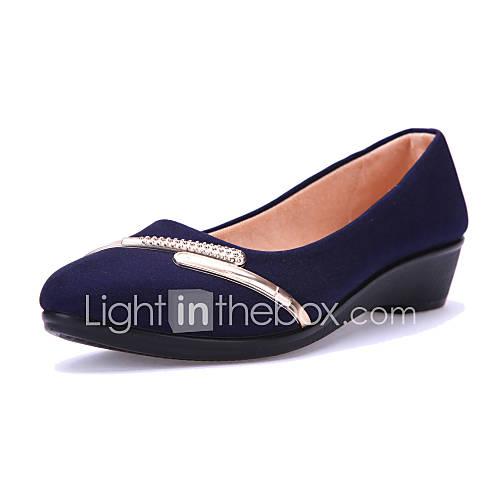 Женская обувь Ткань На низком каблуке На платформе/Удобная обувь/С острым носком Лоферы Для прогулок/Для офиса/На