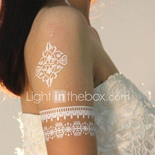 Qinmi women 39 s summer sexy white lace tatoo body art flash for White lace tattoo