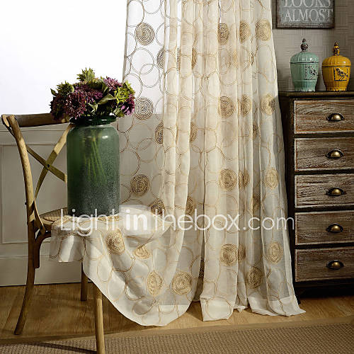 Country Curtains® One Panel Ivory Floral Embroidered Sheer