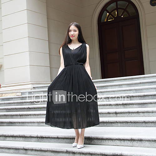 chiffon-polyester-kant-netstof-midi-vrouwen-jurk-mouwloos