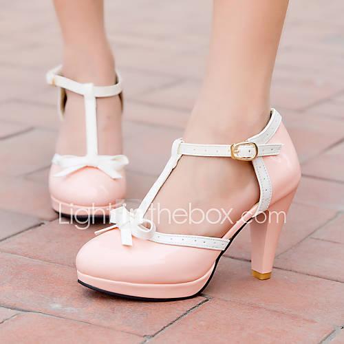 Zapatos de mujer - Tacón Cono - Tacones / Plataforma - Tacones - Oficina y Trabajo / Vestido / Casual - Semicuero -Negro / Rosa / Rojo / Descuento en Lightinthebox