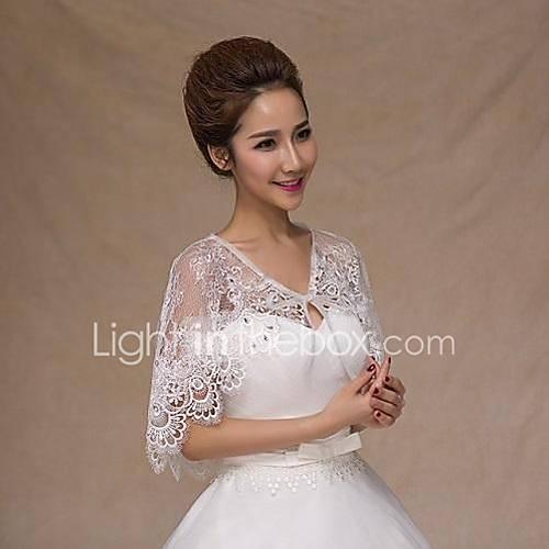 201509: Wedding Wraps Capelets Sleeveless Lace White Wedding