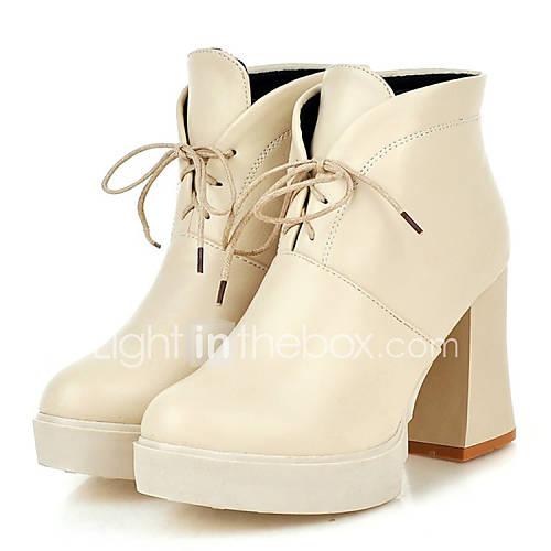 Zapatos de mujer tac n robusto tacones botas a la for Zapatos de trabajo blancos