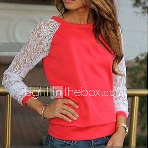 vrouwen-eenvoudig-herfst-t-shirt-casual-dagelijks-patchwork-ronde-hals-lange-mouw-rood-zwart-grijs-groen-medium