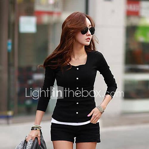 vrouwen-eenvoudig-street-chic-herfst-t-shirt-casual-dagelijks-effen-ronde-hals-lange-mouw-wit-zwart-medium