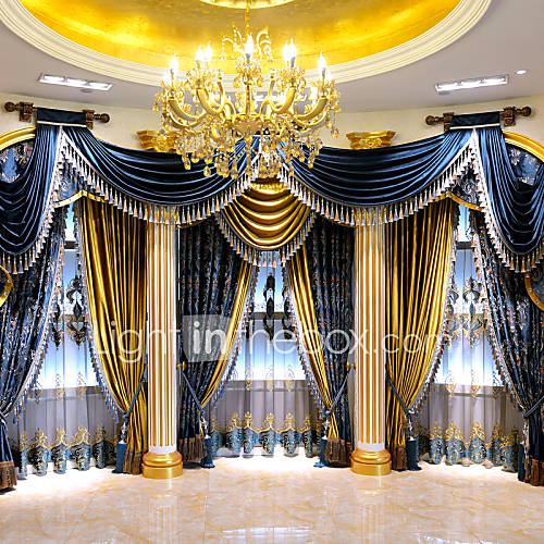 Yimi one pannel european style luxury living room blue - European style curtains for living room ...