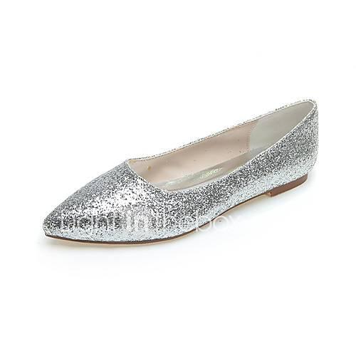 wedding casual party evening flat heel sequin black silver gray