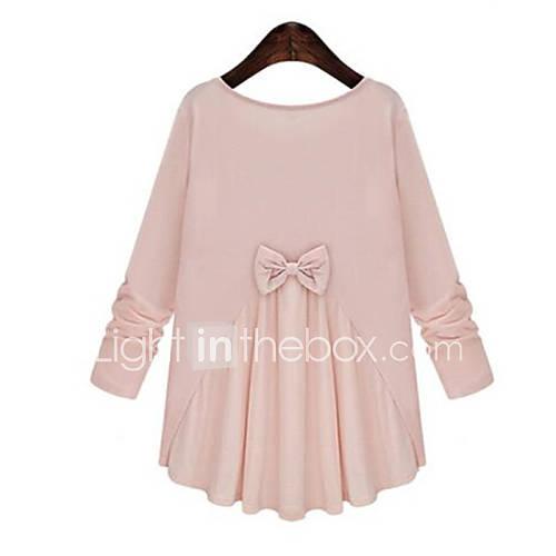 vrouwen-grote-maten-alle-seizoenen-t-shirt-casual-dagelijks-effen-patchwork-ronde-hals-lange-mouw-roze-wit-zwart-katoen-polyester
