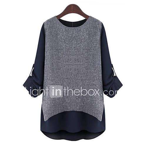 vrouwen-eenvoudig-herfst-blouse-casual-dagelijks-kleurenblok-patchwork-ronde-hals-lange-mouw-grijs-polyester-dun