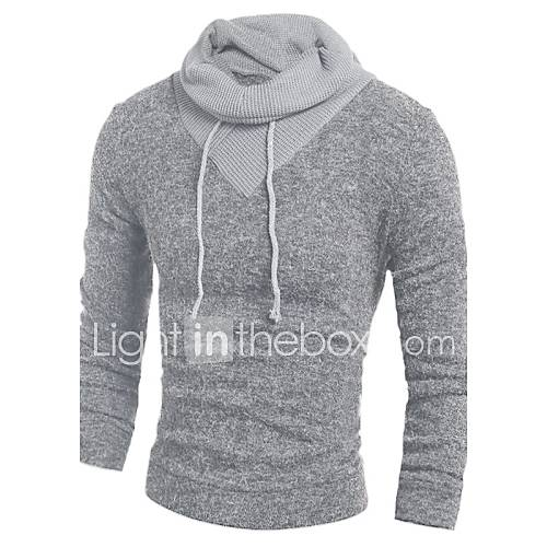heren-casual-dagelijks-eenvoudig-normaal-pullover-kleurenblok-grijs-capuchon-lange-mouw-katoen-herfst-winter-medium-micro-elastisch