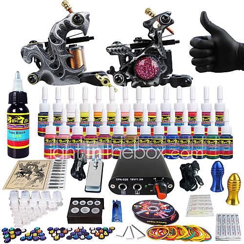 Solong tattoo complete tattoo kit 2 pro machine guns 28 for Full tattoo kit