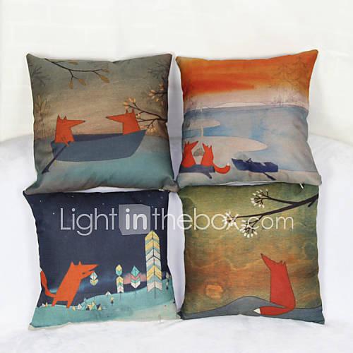 Set Of 4 Little Fox Pillowcase Sofa Home Decor Cushion