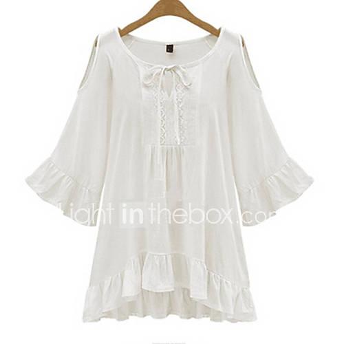 vrouwen-eenvoudig-herfst-t-shirt-casual-dagelijks-effen-ronde-hals-lange-mouw-wit-zwart-katoen-medium