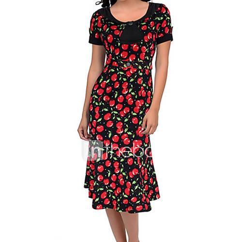 ronde-hals-katoenmixen-knoop-tot-de-knie-vrouwen-jurk-korte-mouw