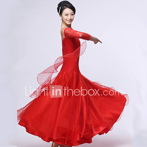 Vestidos y faldas(Negro / Fucsia / Rojo,Crepe / Encaje / Fibra de Leche,Danza Moderna / Baile de Salón) -Danza Moderna / Baile de Salón- Descuento en Lightinthebox