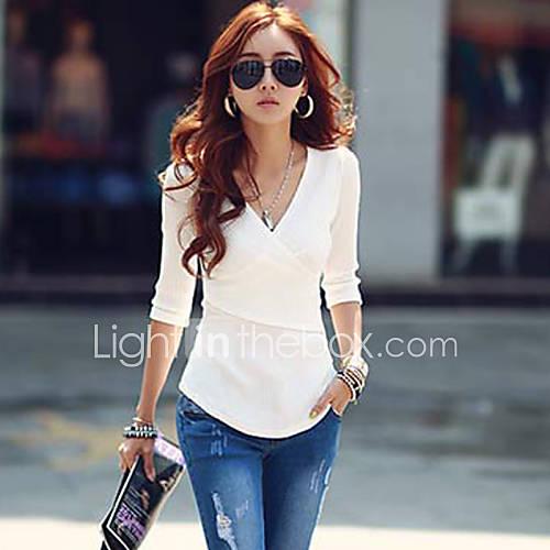vrouwen-eenvoudig-street-chic-herfst-t-shirt-casual-dagelijks-effen-v-hals-halflange-mouw-rood-wit-zwart-grijs-katoen