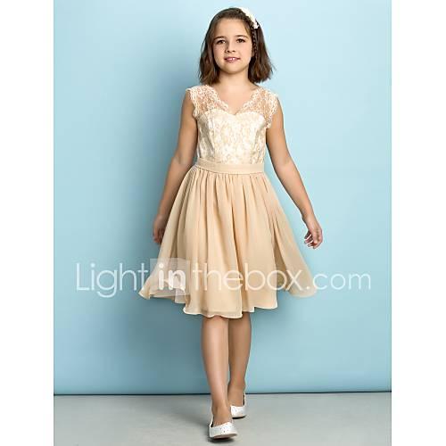 Lanting bride 174 knee length lace junior bridesmaid dress mini me a