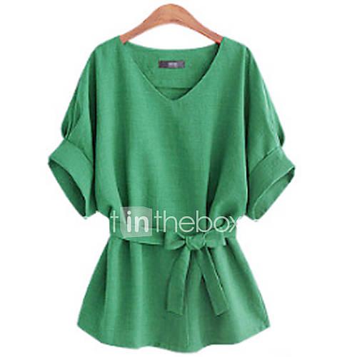 vrouwen-eenvoudig-zomer-blouse-casual-dagelijks-effen-v-hals-halflange-mouw-meerkleurig-katoen-ondoorzichtig