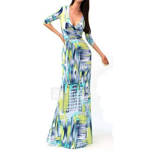 v-hals-katoen-spandex-polyester-uitgesneden-maxi-vrouwen-jurk-lange-mouw