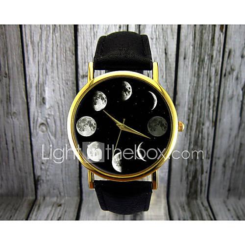 Mujer Reloj de Moda Cuarzo Fase lunar Piel Banda Negro / Marrón Marca- Descuento en Lightinthebox
