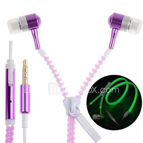 brillar en la oscuridad de la cremallera auriculares auriculares auriculares auriculares con jack estéreo de 3,5 mm Descuento en Lightinthebox