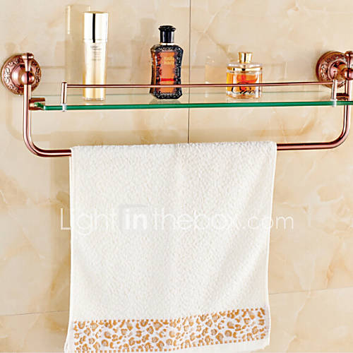 Bathroom shelves rose gold wall mounted glass shelf - Bathroom accessories glass shelf ...