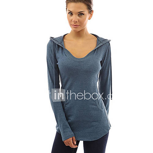 Dames Eenvoudig Winter T-shirt,Casual/Dagelijks Effen Capuchon Lange mouw Blauw / Rood / Zwart / Grijs Katoen Dik
