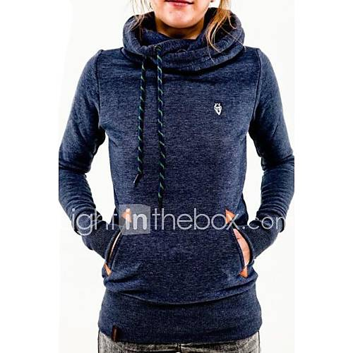 Women's Solid Blue / Pink / Black / Green / Gray Hoodies  Casual Stand Long Sleeve