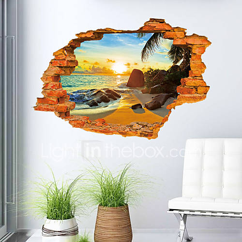 3d sticker beach scenery wall stickers for dining room kid for 3d dining room wall art