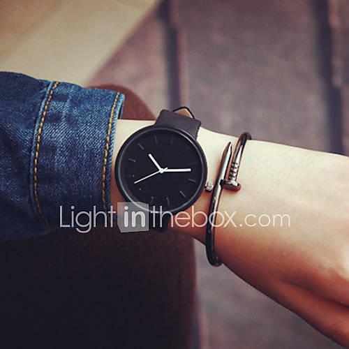 Hombre / Mujer / Pareja Reloj de Moda Cuarzo Reloj Casual Piel Banda Negro Marca Descuento en Lightinthebox