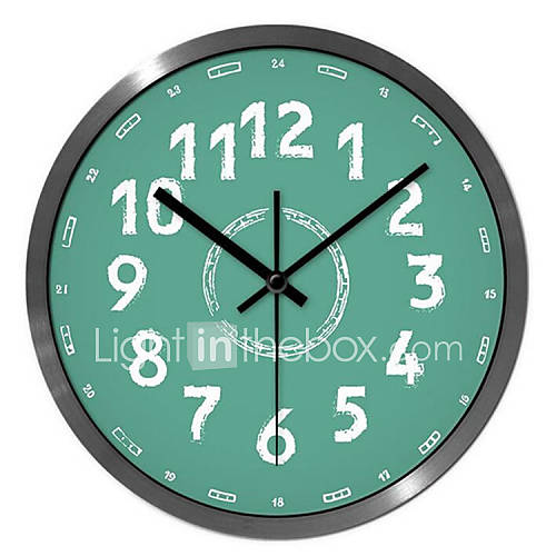 Green 24 Hour Fashion Ultra Quiet Wall Clock 14 Inch