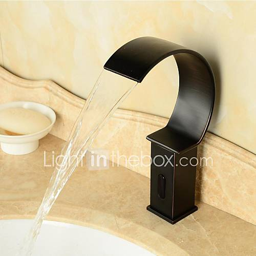 Oil Rubbed Bronze Waterfall Black Bathroom Sink Automatic