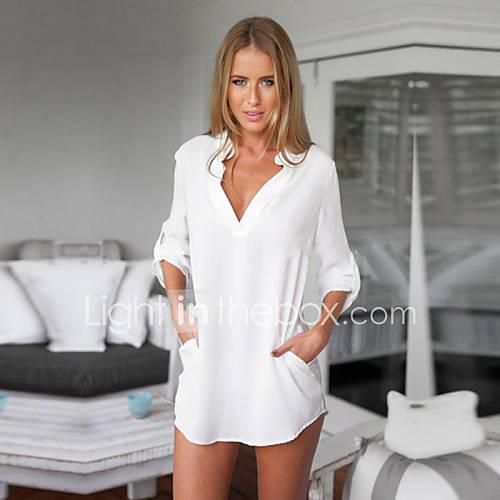 vrouwen-eenvoudig-zomer-overhemd-casual-dagelijks-effen-overhemdkraag-lange-mouw-blauw-wit-katoen-ondoorzichtig