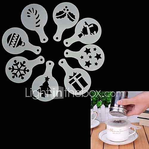 8pcs de Navidad de la plantilla de café capuchino galletas de chocolate tortas stencils molde Descuento en Lightinthebox