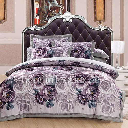 floral duvet cover sets 4 piece cotton luxury reactive print cotton queen king 1pc duvet cover. Black Bedroom Furniture Sets. Home Design Ideas