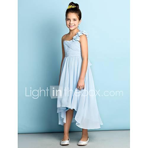 Lanting Bride Asimétrica Raso Vestido de Dama de Honor Junior - Mini Yo Corte en A Sobre un Hombro con Flor(es) / En Cruz Descuento en Lightinthebox