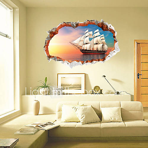 3 styles 3022 removable 3d broken wall scenery wall for Broken wall mural